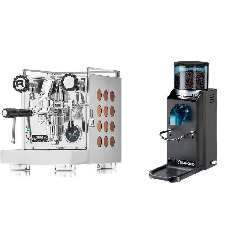 Rocket Espresso Appartamento, copper + Rancilio Rocky Doserless, černá