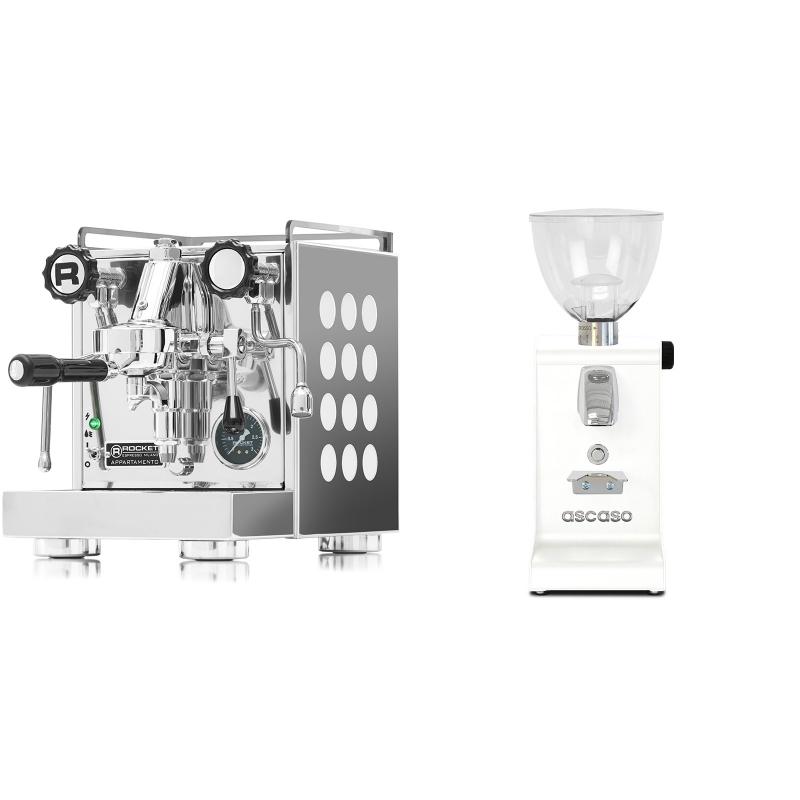 Rocket Espresso Appartamento, white + Ascaso i-steel, bílá
