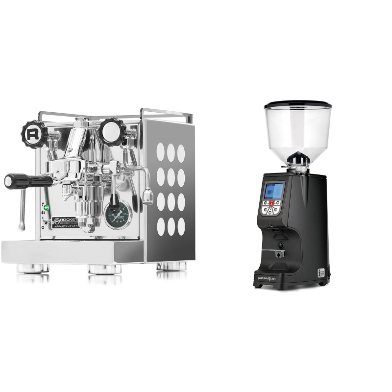 Rocket Espresso Appartamento, white + Eureka Atom Specialty 65, black