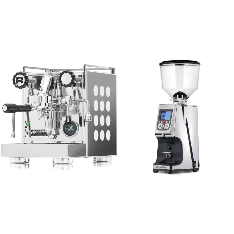 Rocket Espresso Appartamento, white + Eureka Atom Specialty 65, chrome
