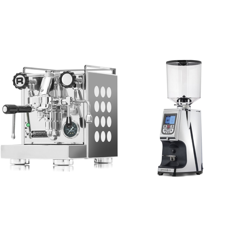 Rocket Espresso Appartamento, white + Eureka Atom Specialty 75, chrome