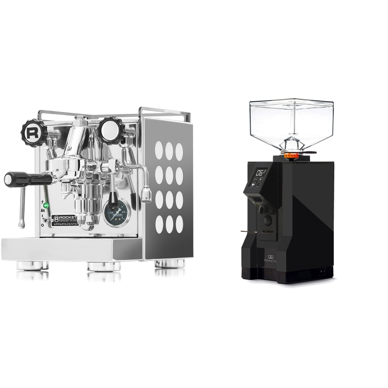 Rocket Espresso Appartamento, white + Eureka Mignon Perfetto, BL black