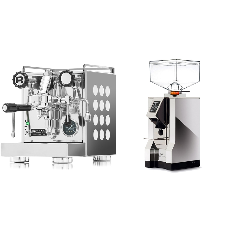 Rocket Espresso Appartamento, white + Eureka Mignon Perfetto, CR chrome