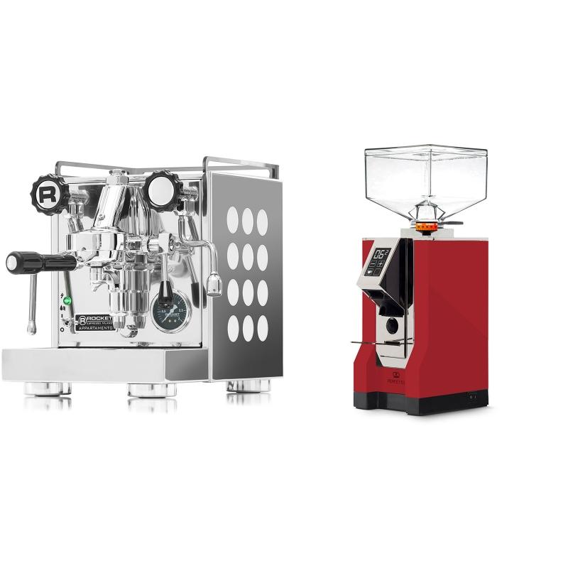 Rocket Espresso Appartamento, white + Eureka Mignon Perfetto, CR ferrari red