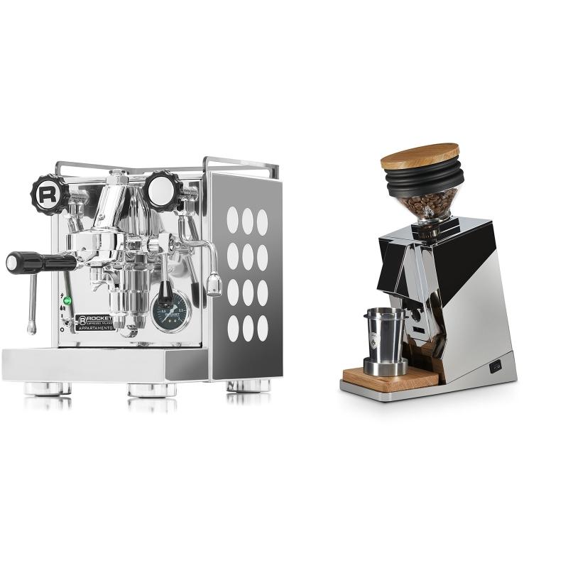 Rocket Espresso Appartamento, white + Eureka Mignon Single Dose, Chrome & Oak