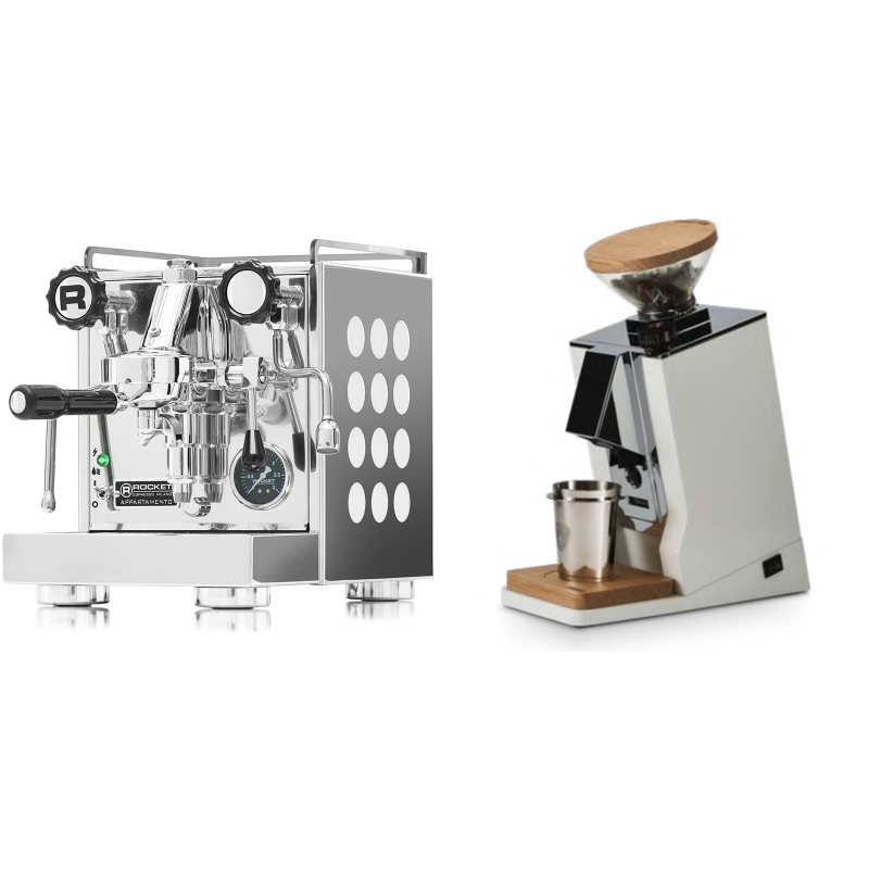 Rocket Espresso Appartamento, white + Eureka Mignon Single Dose, White & Oak