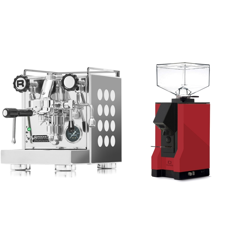 Rocket Espresso Appartamento, white + Eureka Mignon Silenzio, BL ferrari red