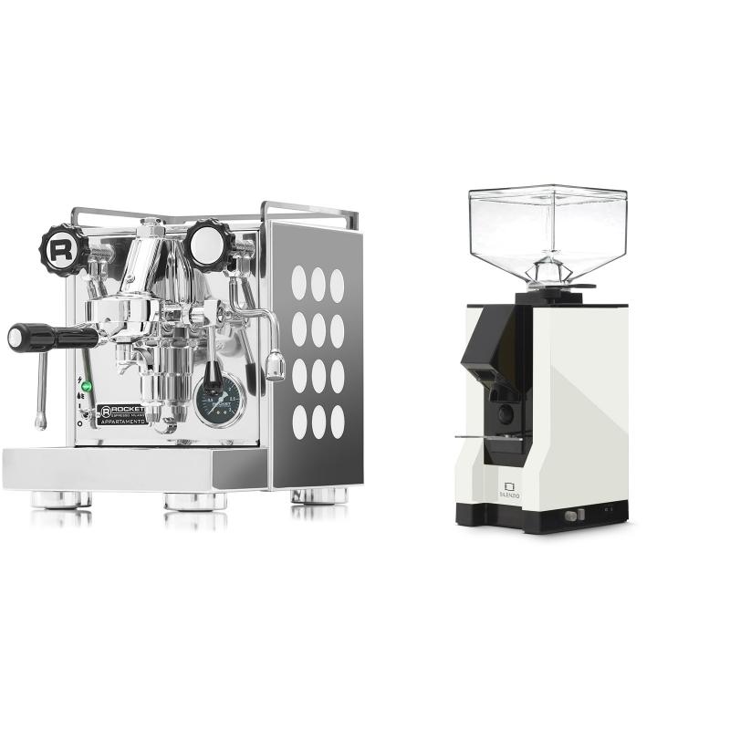 Rocket Espresso Appartamento, white + Eureka Mignon Silenzio, BL white