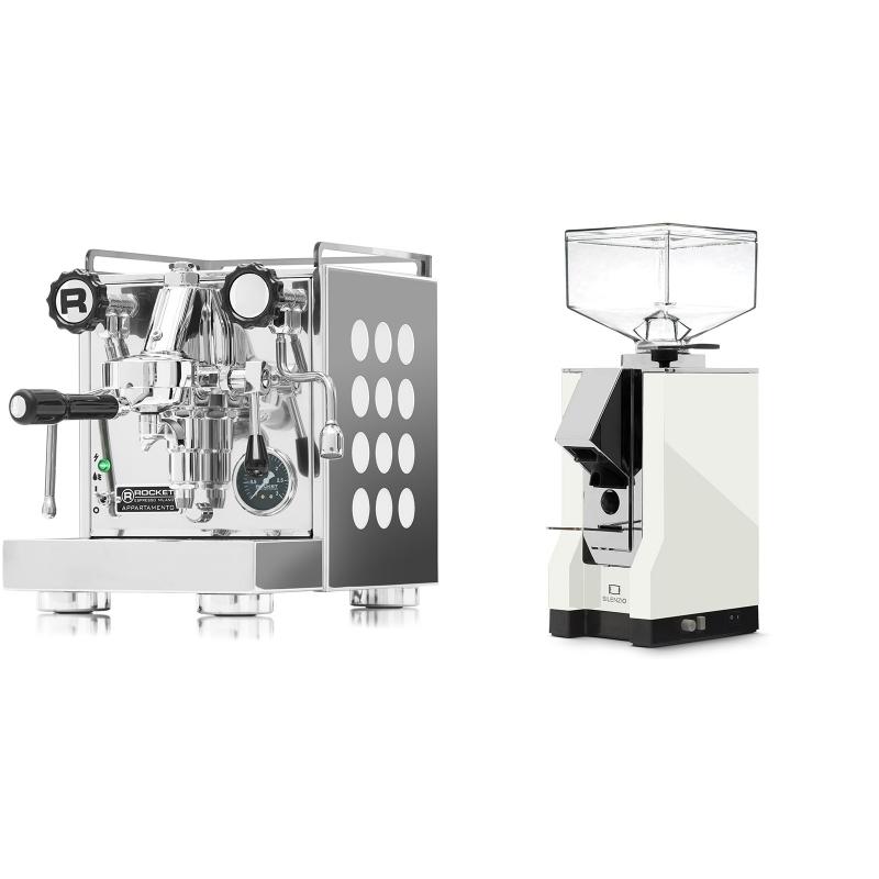 Rocket Espresso Appartamento, white + Eureka Mignon Silenzio, CR white