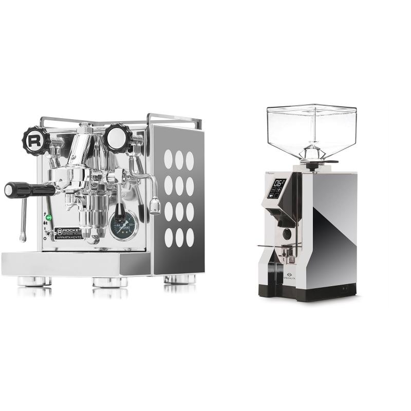 Rocket Espresso Appartamento, white + Eureka Mignon Specialita, CR chrome