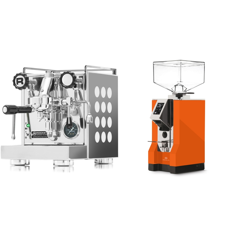 Rocket Espresso Appartamento, white + Eureka Mignon Specialita, CR orange
