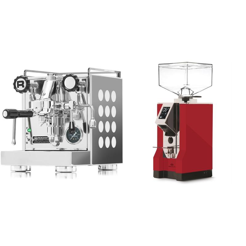 Rocket Espresso Appartamento, white + Eureka Mignon Specialita, CR ferrari red