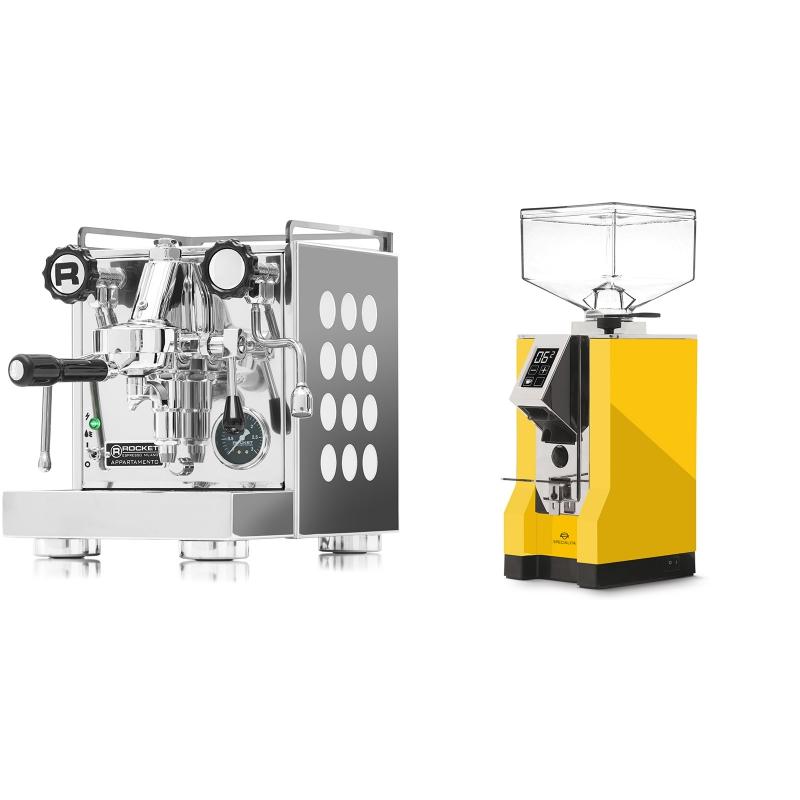 Rocket Espresso Appartamento, white + Eureka Mignon Specialita, CR yellow