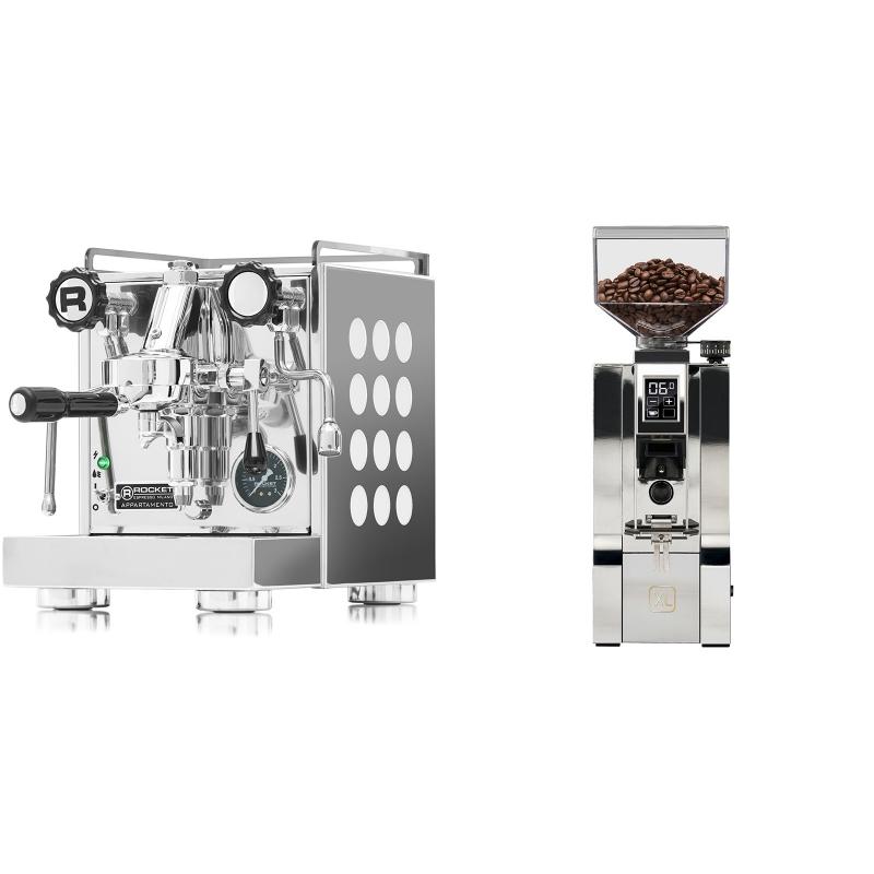 Rocket Espresso Appartamento, white + Eureka Mignon XL, CR chrome