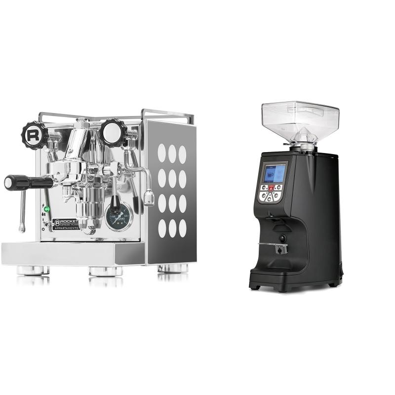 Rocket Espresso Appartamento, white + Eureka Atom 60, black