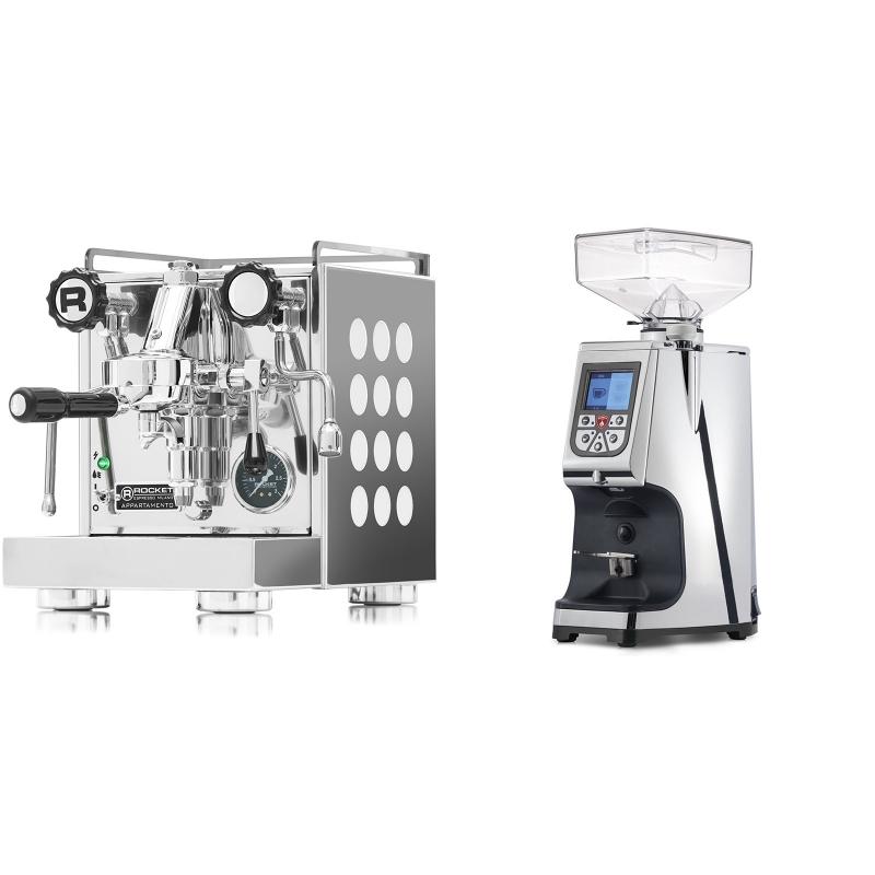 Rocket Espresso Appartamento, white + Eureka Atom 60, chrome