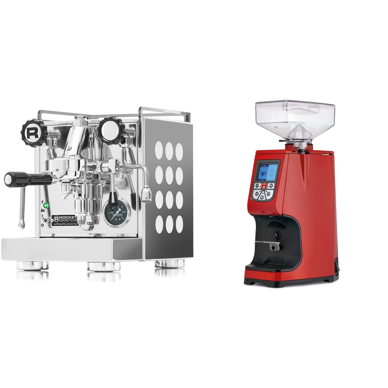 Rocket Espresso Appartamento, white + Eureka Atom 60, ferrari red
