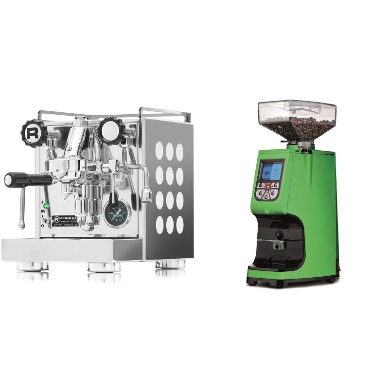 Rocket Espresso Appartamento, white + Eureka Atom 60, kawasaki green