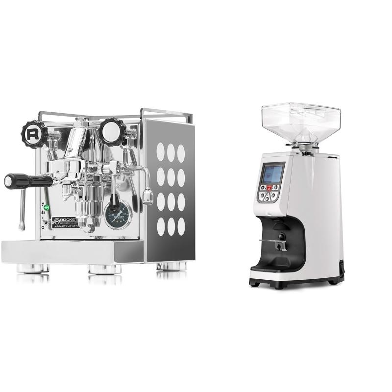 Rocket Espresso Appartamento, white + Eureka Atom 60, white