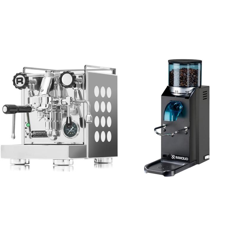 Rocket Espresso Appartamento, white + Rancilio Rocky Doserless, černá