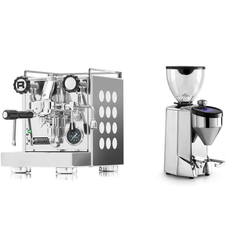 Rocket Espresso Appartamento, white + Rocket Espresso FAUSTO 2.1, chrome