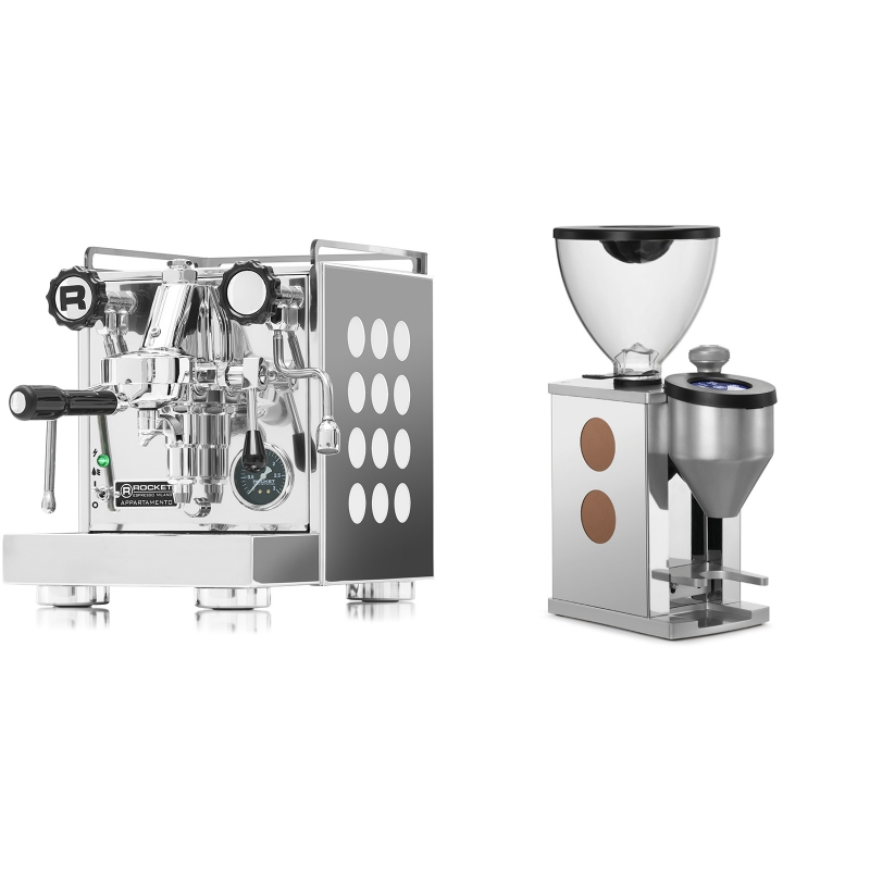 Rocket Espresso Appartamento, white + Rocket Espresso FAUSTINO, copper