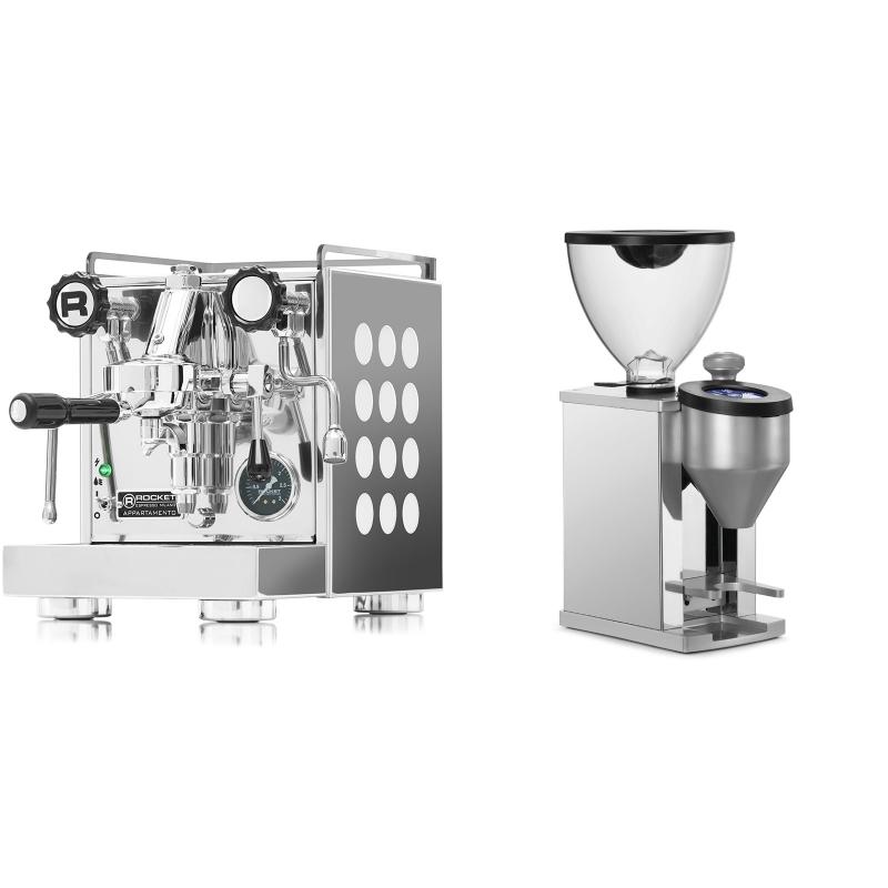 Rocket Espresso Appartamento, white + Rocket Espresso FAUSTINO, chrome