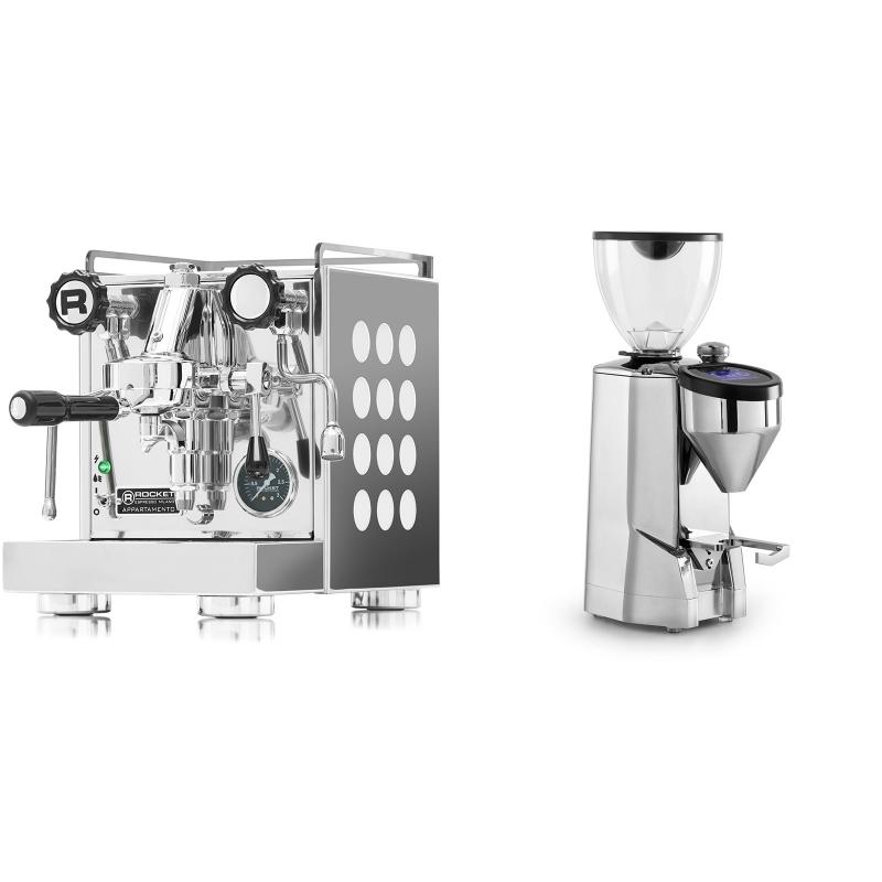 Rocket Espresso Appartamento, white + Rocket Espresso SUPER FAUSTO, chrome