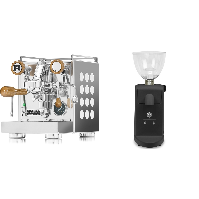 Rocket Espresso Appartamento, white, dub + Ascaso i-mini i1, černá