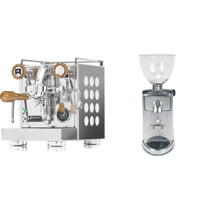 Rocket Espresso Appartamento, white, dub + Ascaso i-mini i1, leštěný hliník