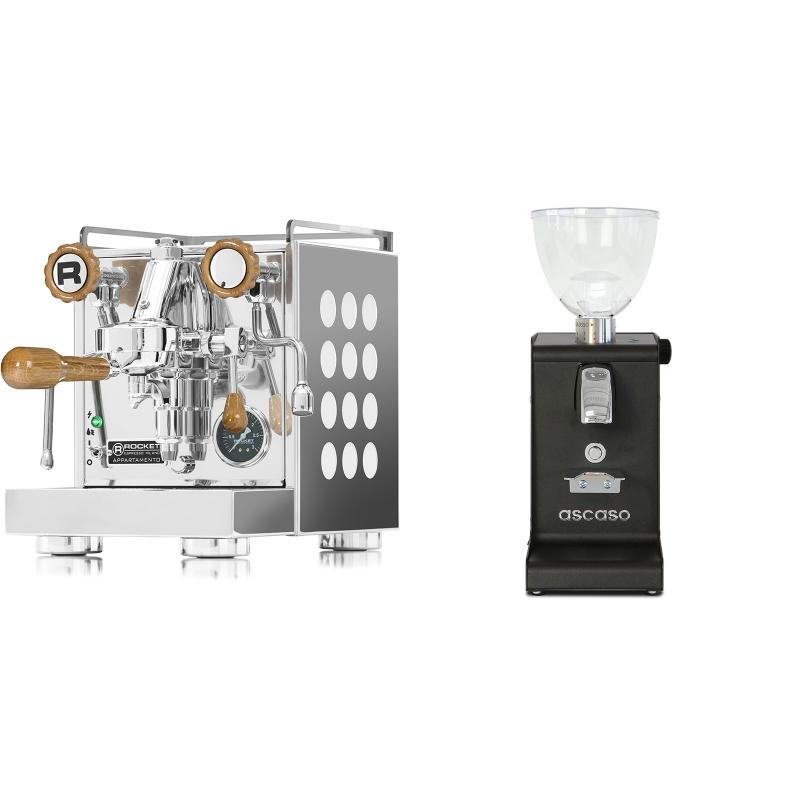 Rocket Espresso Appartamento, white, dub + Ascaso i-steel, černá
