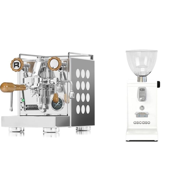 Rocket Espresso Appartamento, white, dub + Ascaso i-steel, bílá