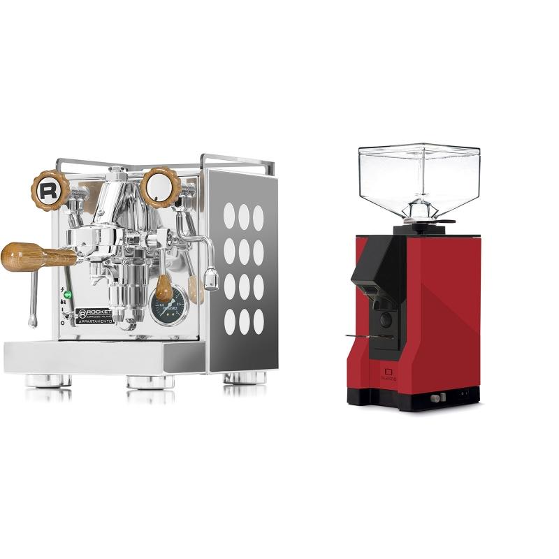 Rocket Espresso Appartamento, white, dub + Eureka Mignon Silenzio, BL ferrari red