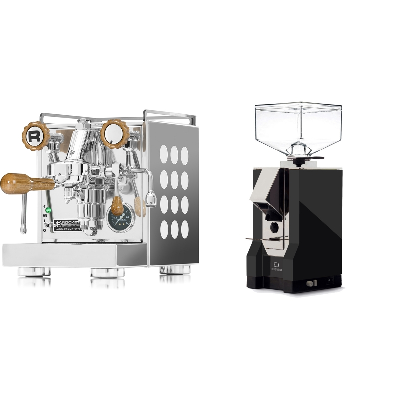 Rocket Espresso Appartamento, white, dub + Eureka Mignon Silenzio, CR black