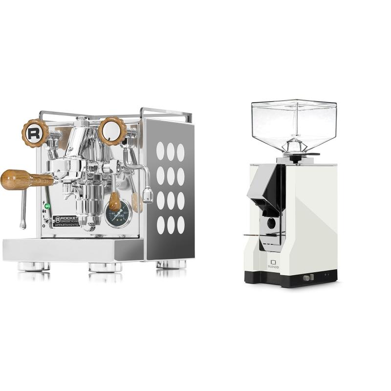 Rocket Espresso Appartamento, white, dub + Eureka Mignon Silenzio, CR white