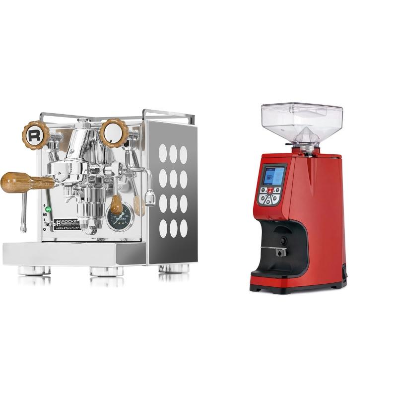 Rocket Espresso Appartamento, white, dub + Eureka Atom 60, ferrari red