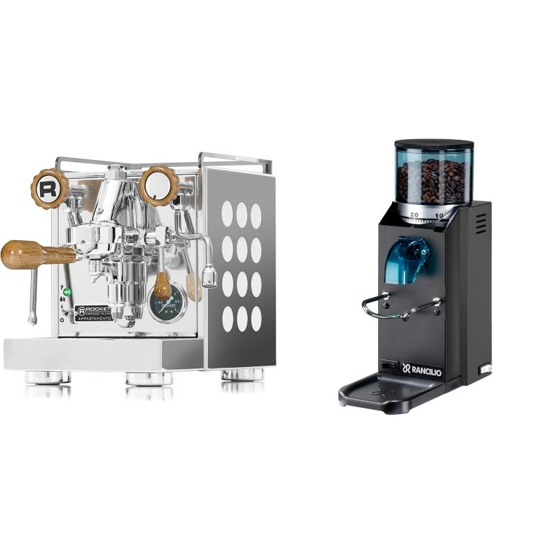 Rocket Espresso Appartamento, white, dub + Rancilio Rocky Doserless, černá