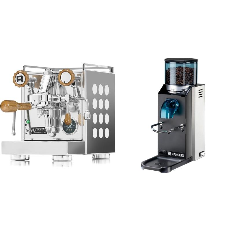 Rocket Espresso Appartamento, white, dub + Rancilio Rocky Doserless