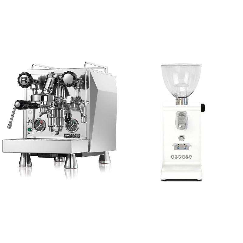 Rocket Espresso Giotto Cronometro R + Ascaso i-steel, bílá