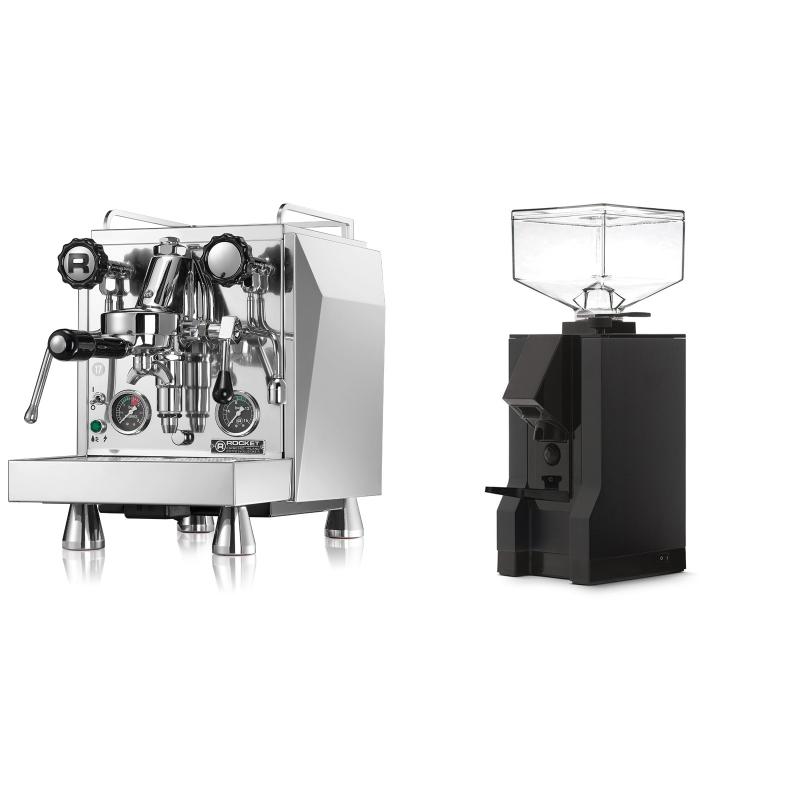 Rocket Espresso Giotto Cronometro R + Eureka Mignon Manuale, BL black