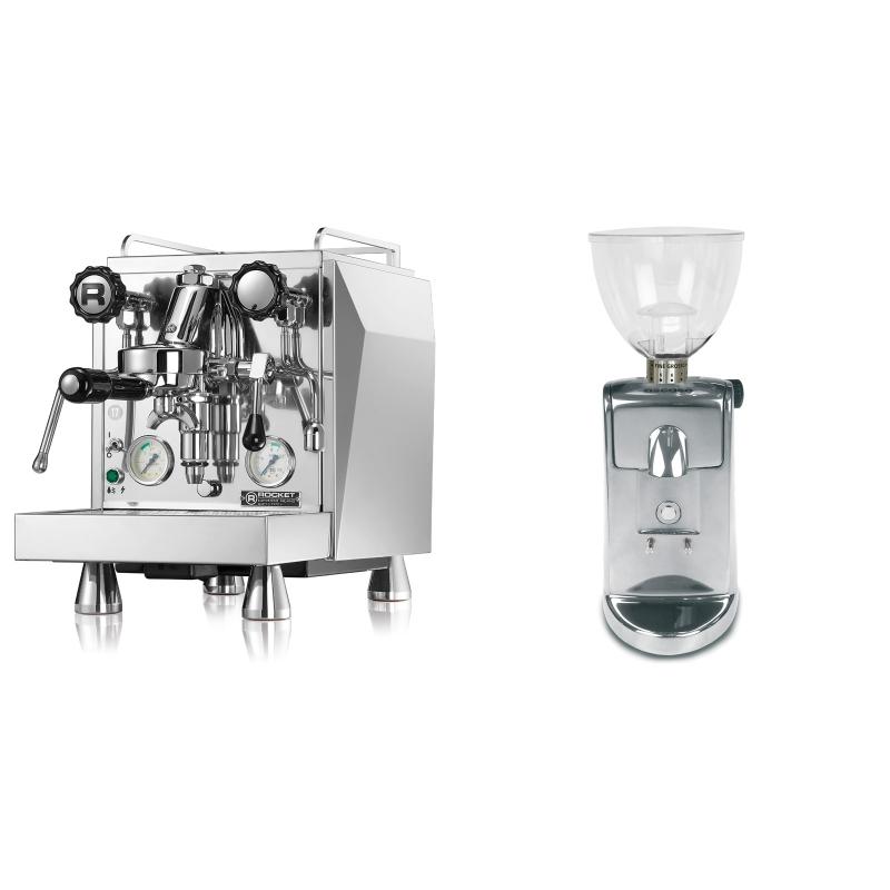 Rocket Espresso Giotto Cronometro V + Ascaso i-mini i1, leštěný hliník