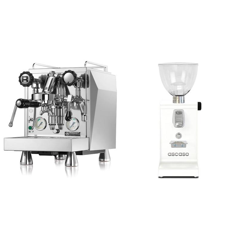 Rocket Espresso Giotto Cronometro V + Ascaso i-steel, bílá