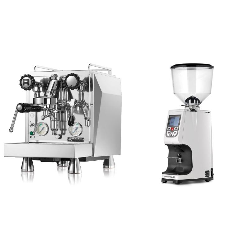 Rocket Espresso Giotto Cronometro V + Eureka Atom Specialty 65, white