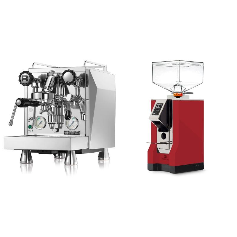 Rocket Espresso Giotto Cronometro V + Eureka Mignon Perfetto, CR ferrari red