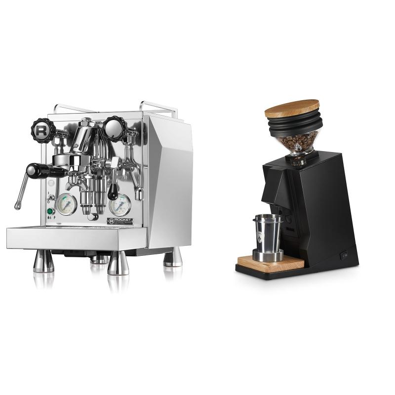 Rocket Espresso Giotto Cronometro V + Eureka Mignon Single Dose, Black & Oak