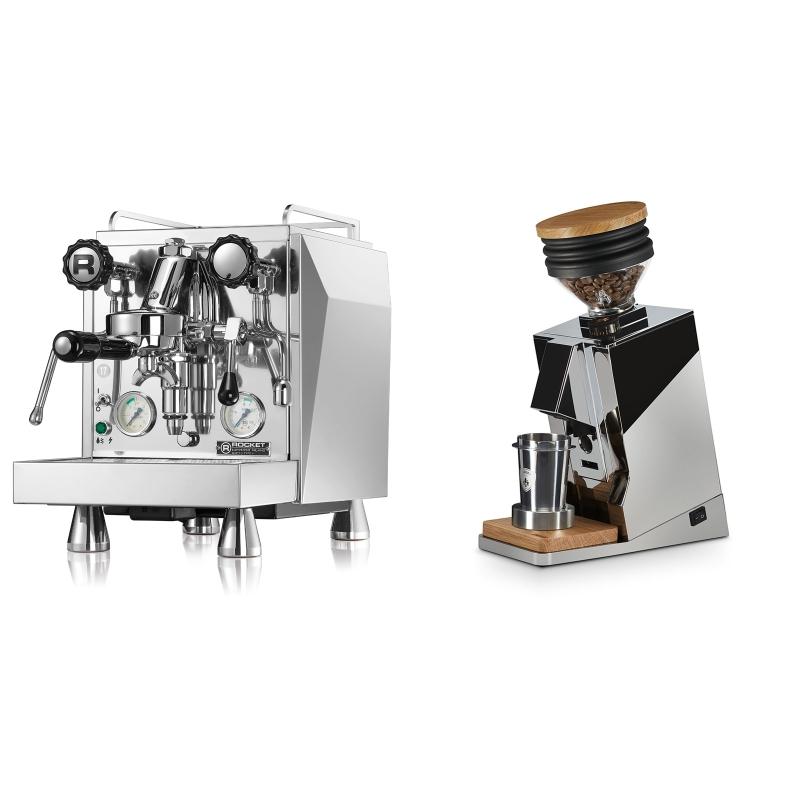 Rocket Espresso Giotto Cronometro V + Eureka Mignon Single Dose, Chrome & Oak