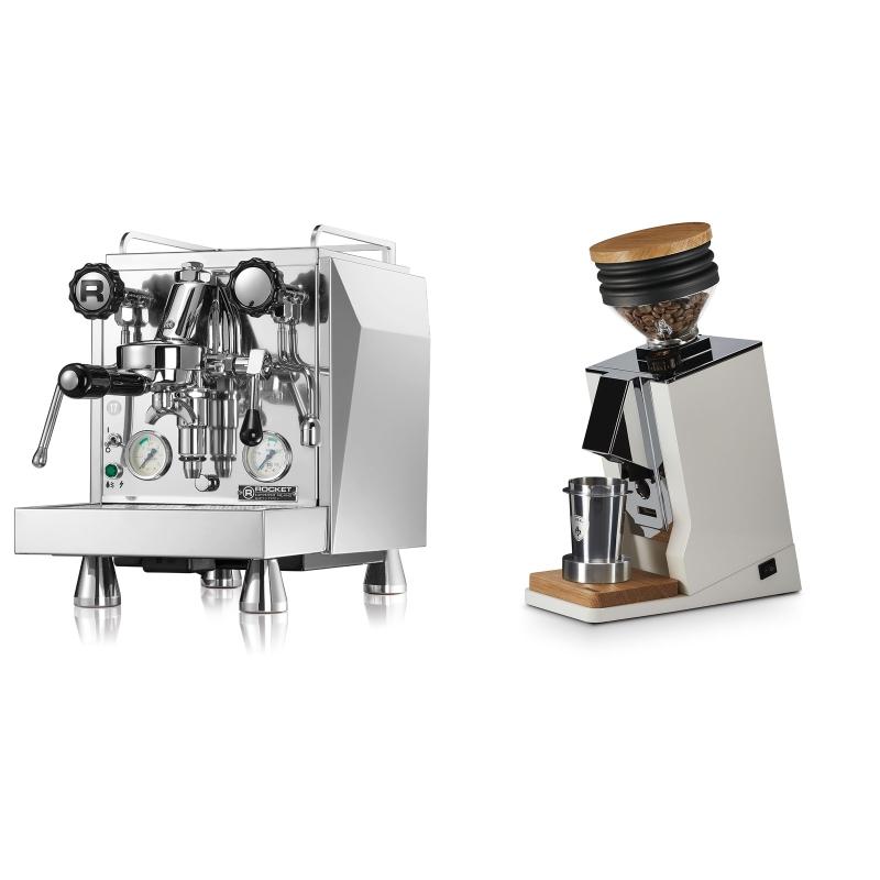 Rocket Espresso Giotto Cronometro V + Eureka Mignon Single Dose, White & Oak