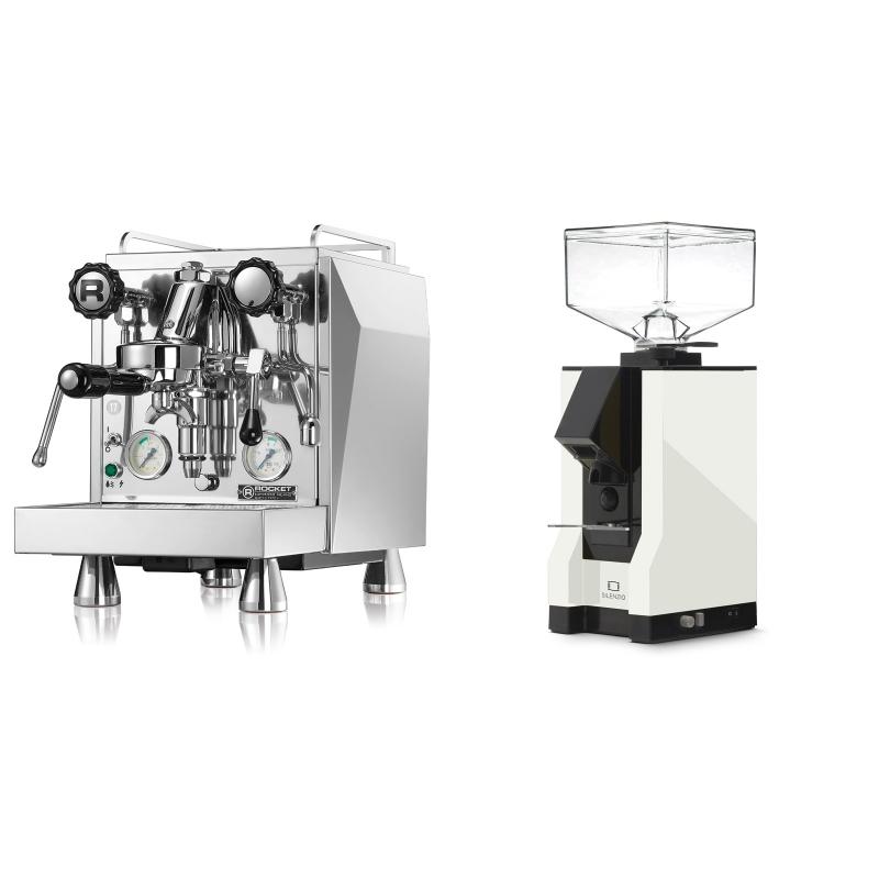 Rocket Espresso Giotto Cronometro V + Eureka Mignon Silenzio, BL white