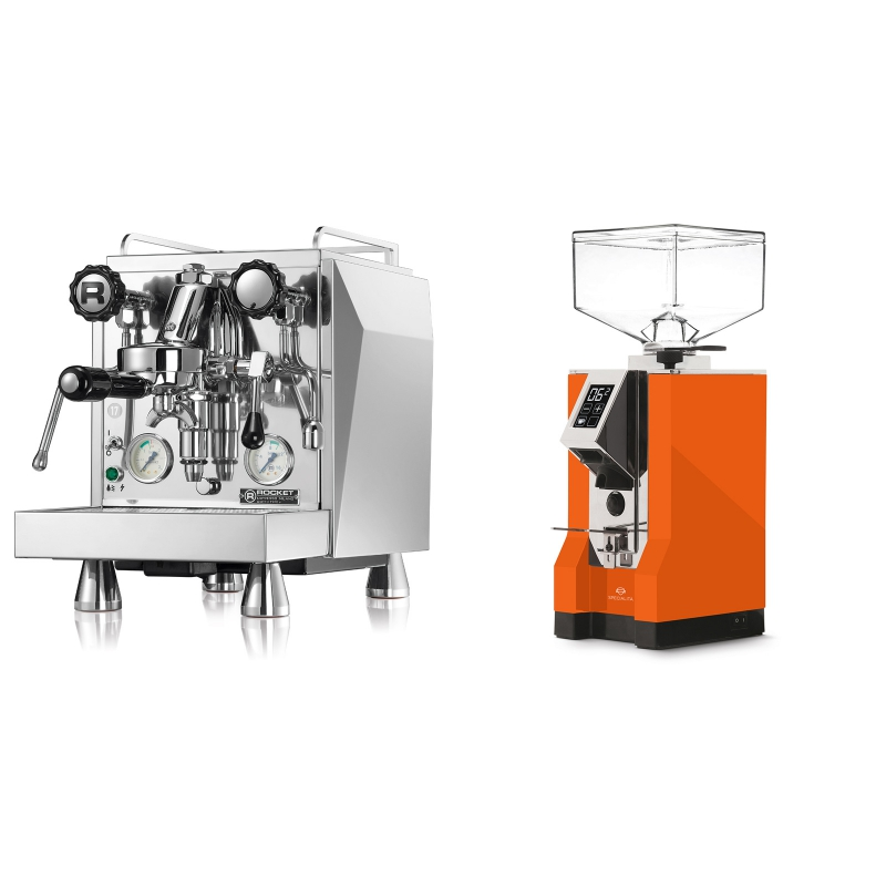 Rocket Espresso Giotto Cronometro V + Eureka Mignon Specialita, CR orange