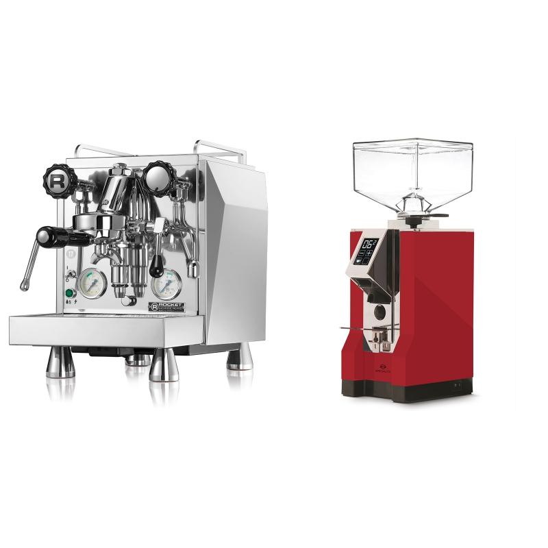 Rocket Espresso Giotto Cronometro V + Eureka Mignon Specialita, CR ferrari red